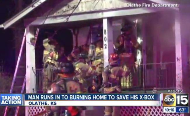 Kansas Man Runs Back Into Burning Home To Save Xbox! xbox fire