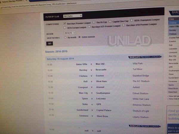 12 Someone Leaked The 2014/15 Premier League Fixture List