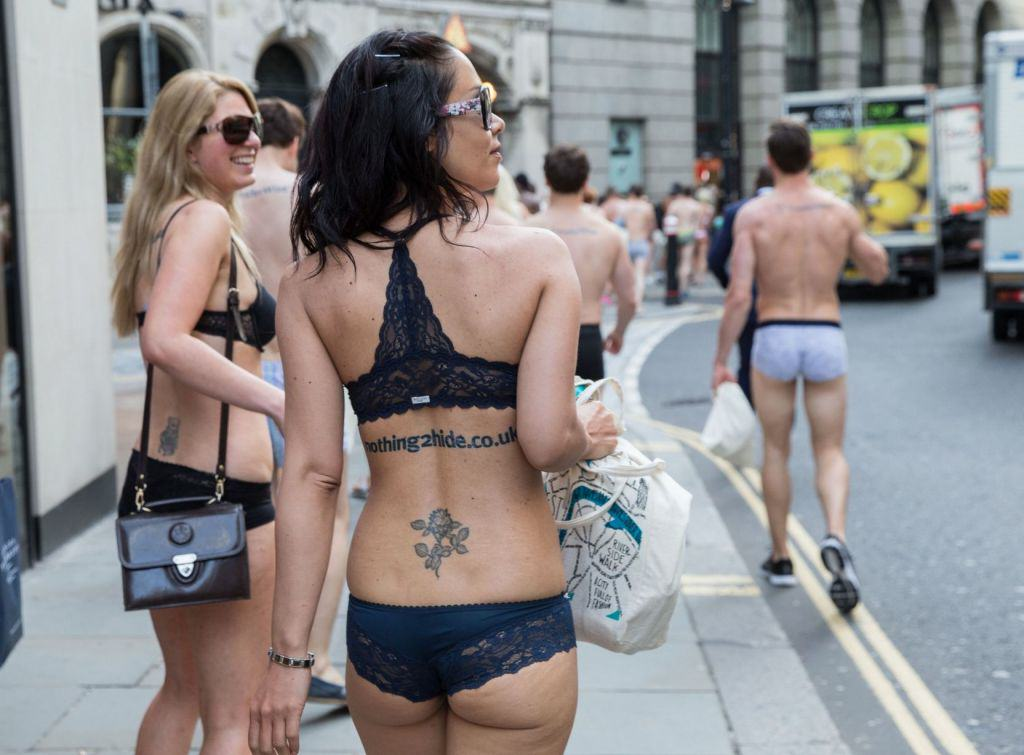 Flashing Flash Mob 4 Semi Naked Protesters Take To The Streets Of London