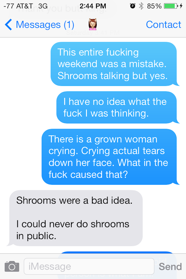 comin con shrooms 1 Guy Gets High On Mushrooms At Comic Con, His Texts Are Incredible