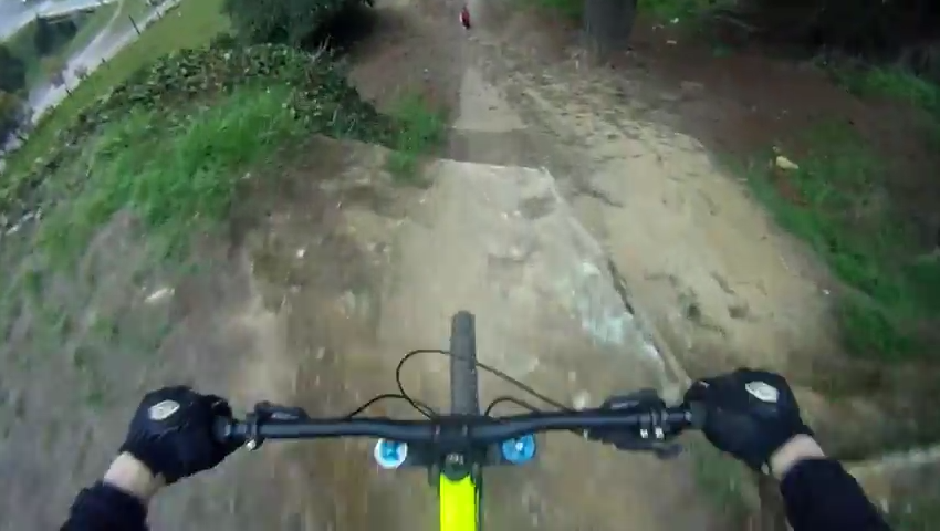 Kid Takes A Hit On An Active Mountain Bike Track 111