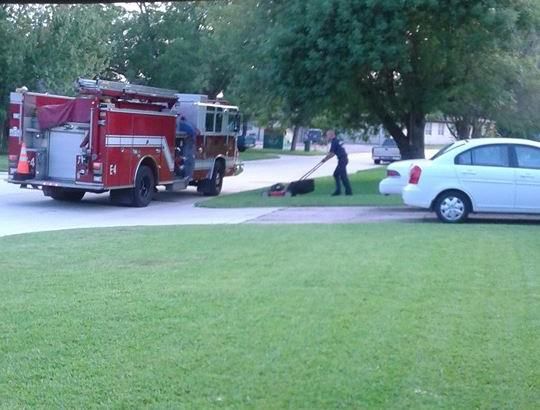firemen e1409479789717 Firefighters Save Heart Attack Victim Then Finish Mowing His Lawn