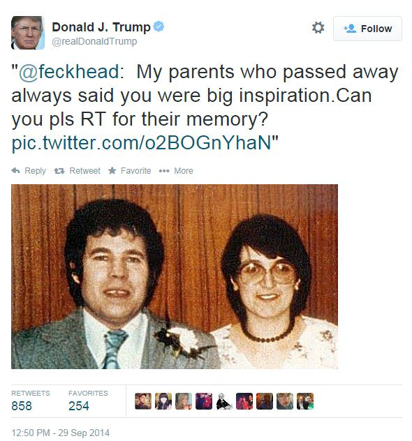 donald trump Donald Trump Trolled Into Retweeting Pic Of Fred And Rose West