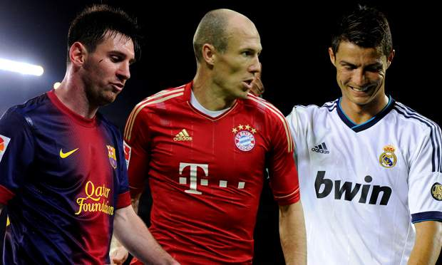 ronaldo messi ve robben  The Top 10 Rated Players On FIFA 15