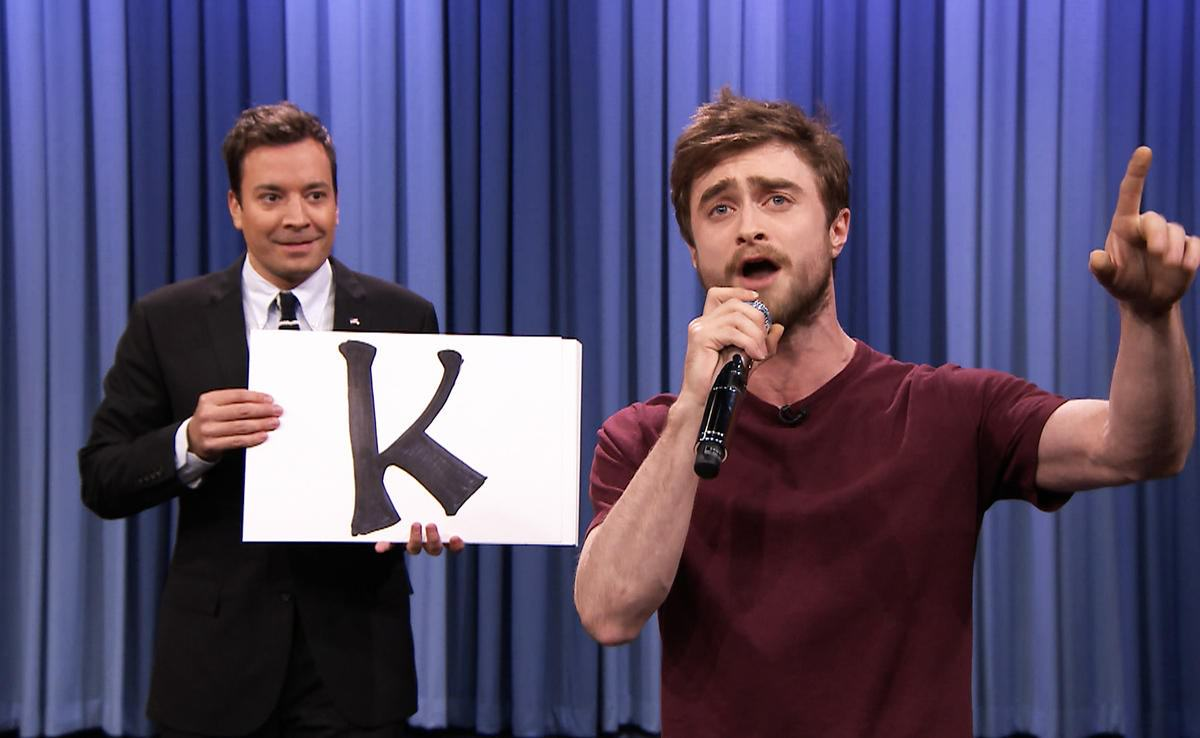 nbc tjf hlt s02e22 150 danielradcliffe raps 20141028 1200x738 Harry Potter Can Rap? Daniel Radcliffe Tears Up Alphabet Aerobics