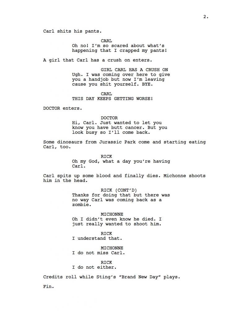 walking dead 2 The Walking Dead Script If The Writer Hated Carl
