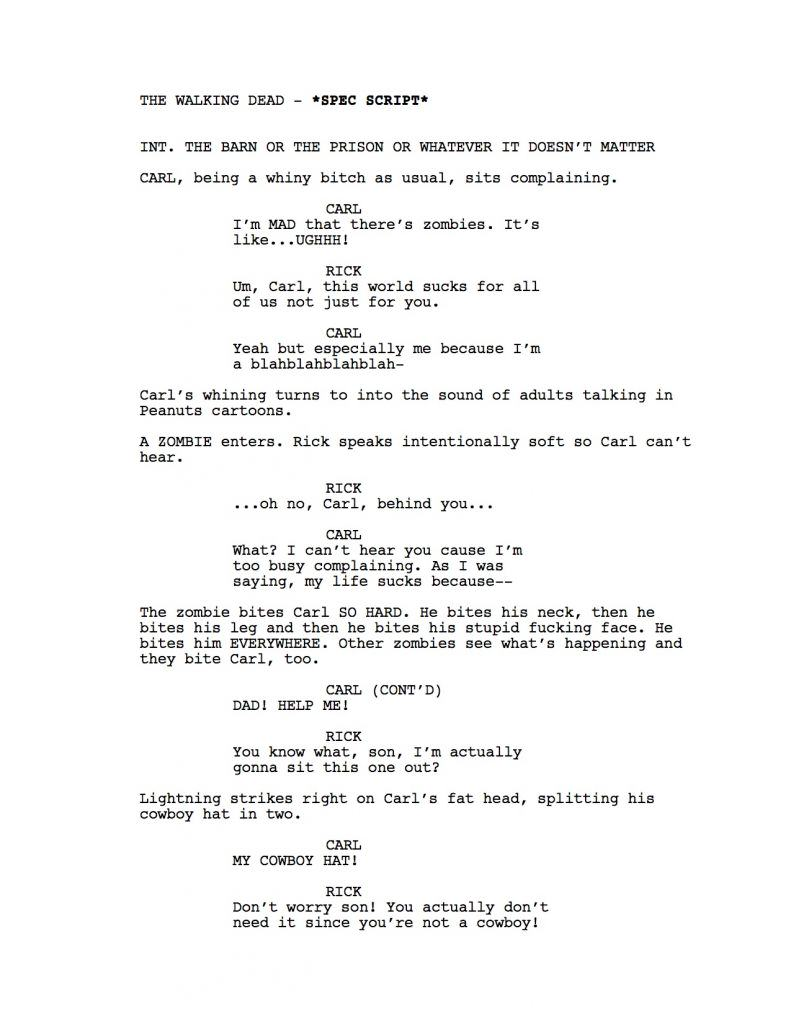 walking dead1 The Walking Dead Script If The Writer Hated Carl