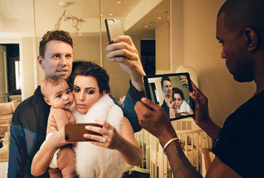 DDG6GNa Lad Perfectly Photoshops Himself Into Family Photos Of Kim And Kanye