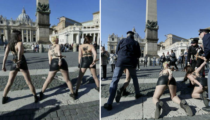 FEMEN web thumb FEMEN Women Protested Against The Pope By Putting Crucifixes Up Their Arses   Watch