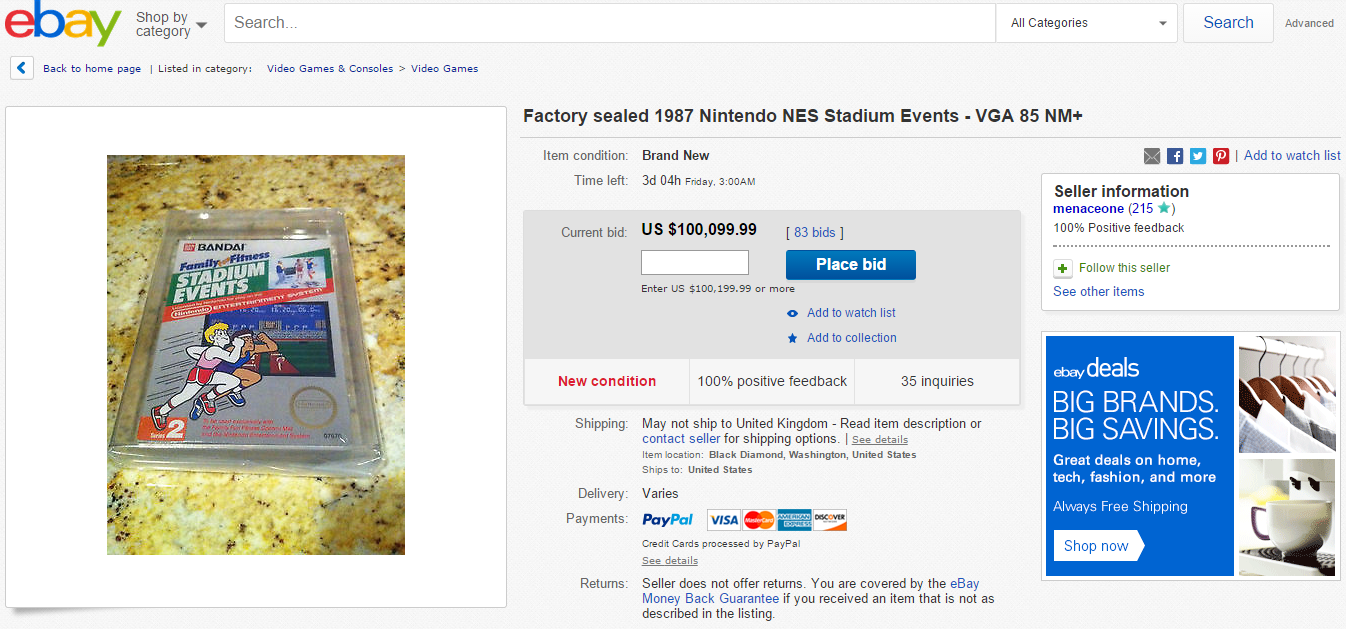 game 1 Rare Video Game Going For Over $100K On Ebay