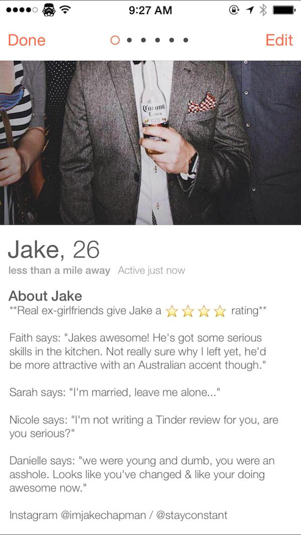 tinder ex review elite daily 1 Lad Gets Exes To Write Honest Reviews For His Tinder Profile