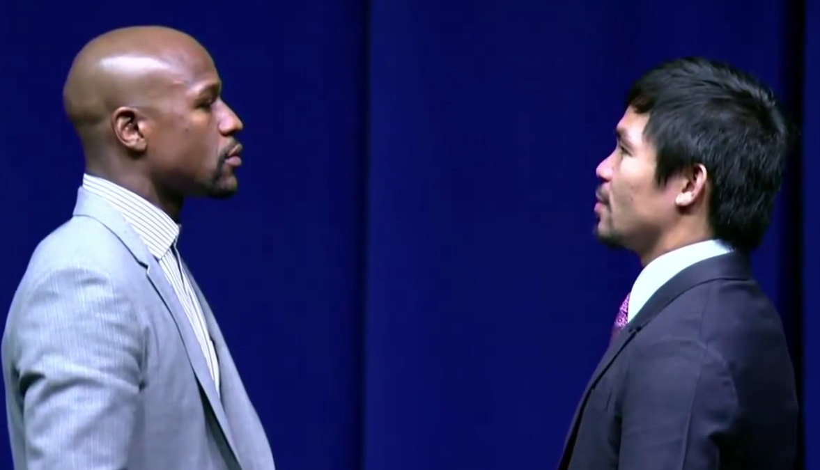 Screen Shot 2015 03 12 at 12.47.01 Floyd Mayweather And Manny Pacquiao Have EPIC Stare Down