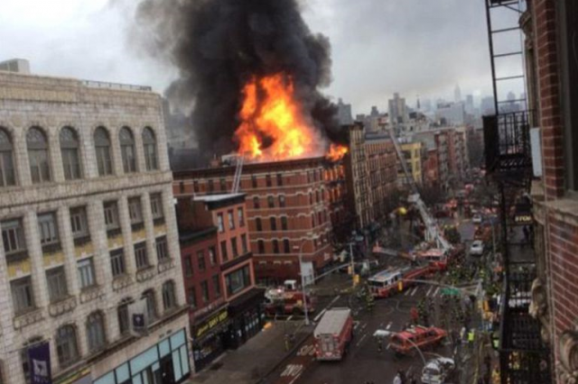 nyc1 640x426 Five Storey Building In NYC Collapses, Fire Injures 12, More Casualties Expected