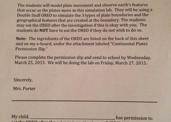 oreo 600x426 Kids Sent Home With Permission Slip Asking If They Can Eat An Oreo