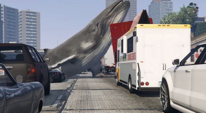 1109 Whales Falling From The Sky On GTA V And Causing Mayhem Is Brilliant