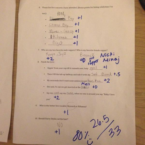 31 This Girl Made Her Boyfriend Sit A Beyonce Exam To Decide Whether They Should Stay Together