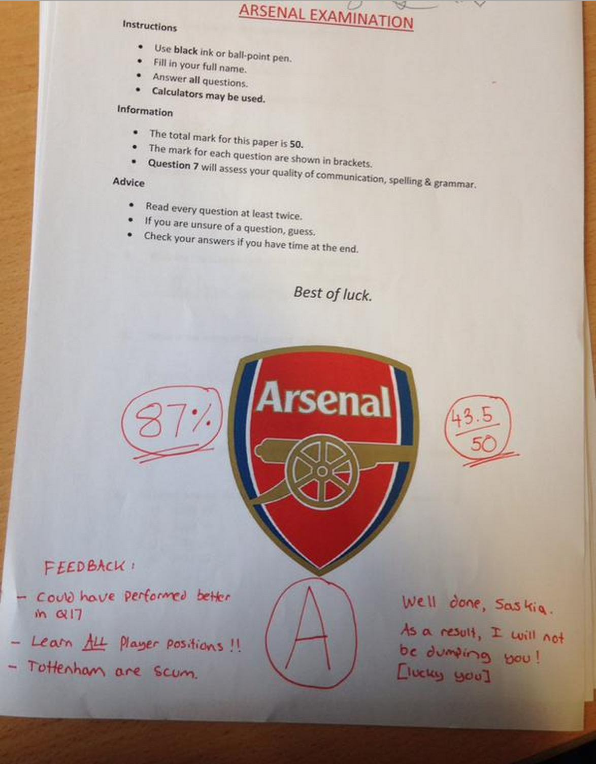 arsenal1 Lad Makes His Girlfriend Take An Arsenal Test