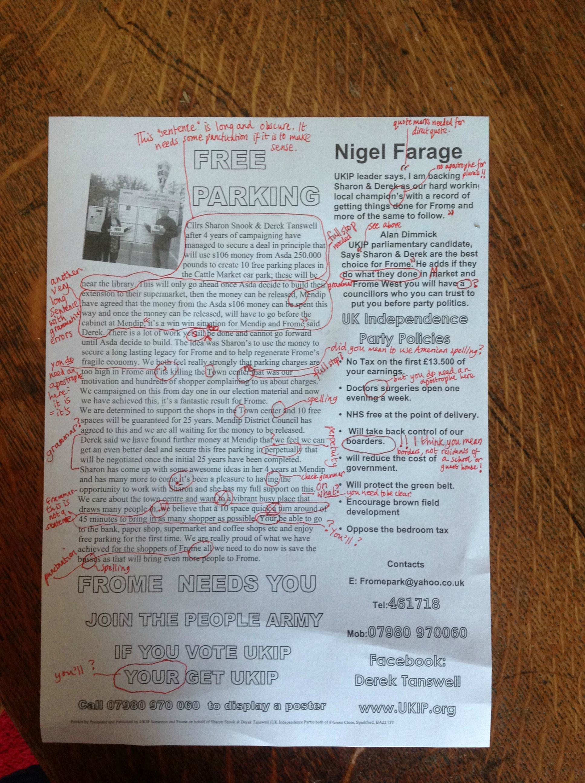 ukip English Teacher Literally Schools Ukip After Shocking Campaign Flyer