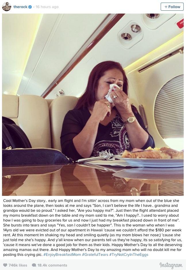 Screen Shot 2015 05 11 at 13.18.13 The Rock Posts Awesome Mothers Day Instagram For His Momma