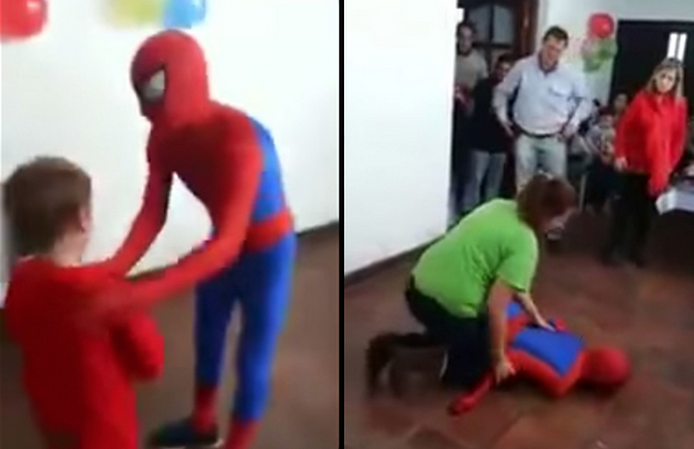 Screen Shot 2015 05 25 at 12.03.41 The Awkward Moment When Spider Man Gives Himself Concussion At Kids Birthday Party