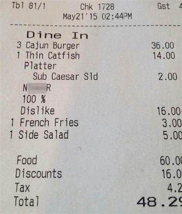 racist receipt 1 Restaurant Fires Waiter Who Put The N Word On Customers Receipt