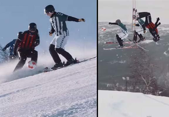ski soccer WEB Lads Play Football While Skiing Down A Mountain In Epic Game
