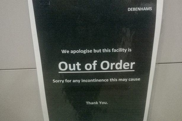toilet Debenhams Left Looking Seriously Stupid After This Sign On Their Out Of Order Loo