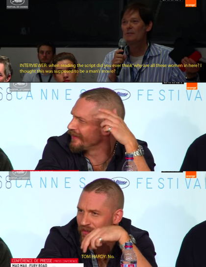 tom hardy Tom Hardy Responds To Sexist Question About Mad Max
