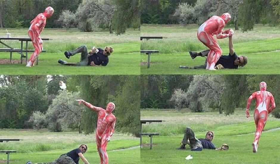 vegie Man Eating A Burger Attacked By Meat Suit Wearing Vegetarian