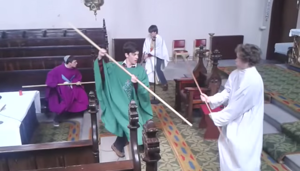 Screen Shot 2015 06 25 at 09.42.50 Irish Lads Sneak Into Church, Robe Up Then Have Lightsaber Battle