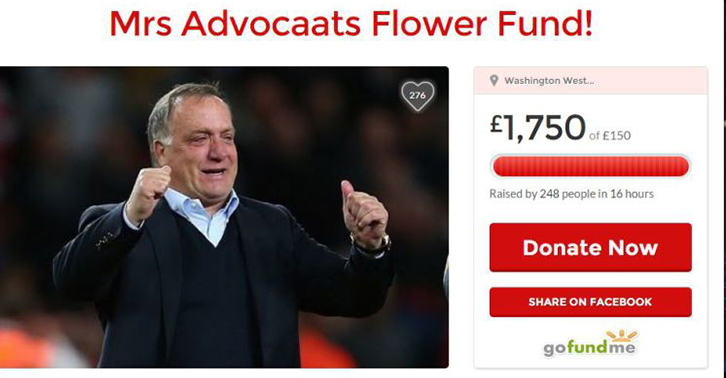 Sunderland Fans Set Up GoFundMe Page To Buy Advocaats Wife Flowers adv fb