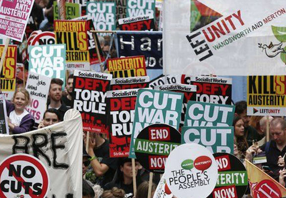 anti austerity WEB 1 Thousands March In London To Protest Against Government Austerity Cuts