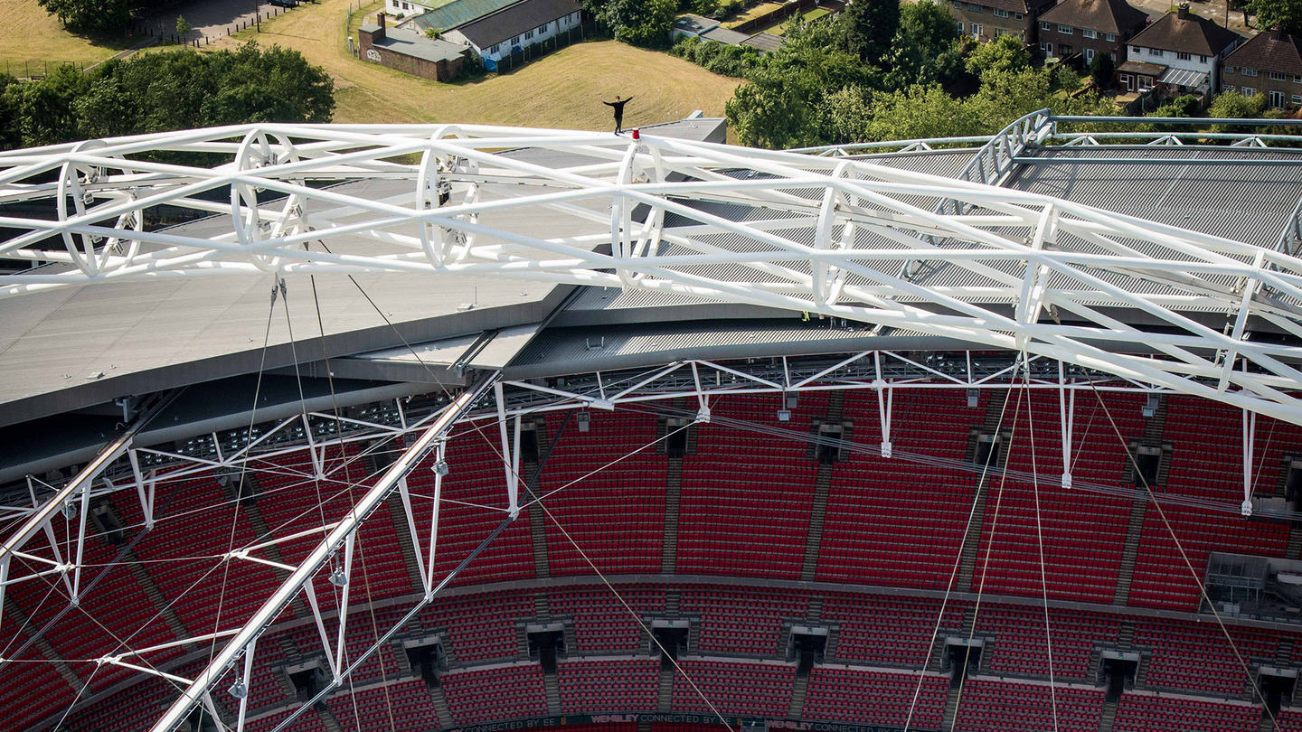 ap613697506853 James Kingston Is At It Again, Watch Him Walk The Arch Of Wembley Stadium