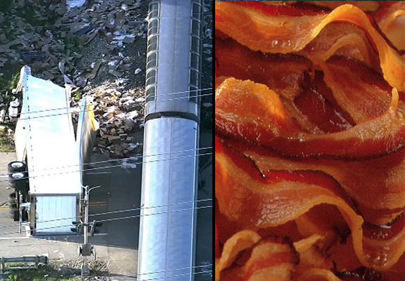 Train Crashes Into Truck Carrying 70,000 Pounds Of Bacon bacon crash WEB