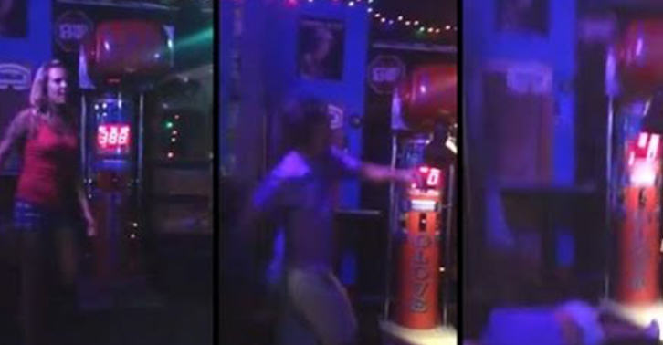 dg fb1 Drunk Guy Tries To Impress Girl By Dropkicking Punching Machine, Its A Knockout