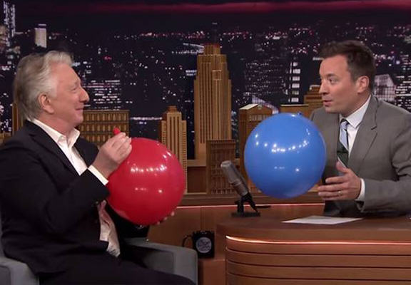 rickman helium WEB Alan Rickman Inhales Helium And Says Harry Potter Because Why Not?