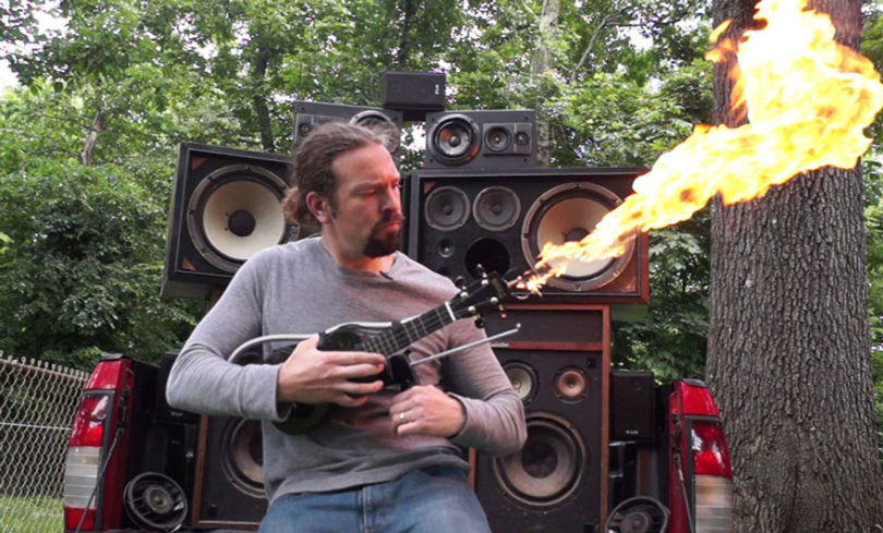 ukelele fire 1 This Guy Has Made His Own Ukulele Flamethrower Inspired By Mad Max
