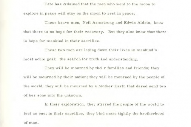 Speech 1 640x426 The Speech That Would Have Been Made If The Apollo 11 Moon Landing Had Failed