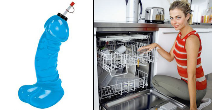 TN130 Teenage Lad Finds Mums Cock Shaped Water Bottle In Dishwasher