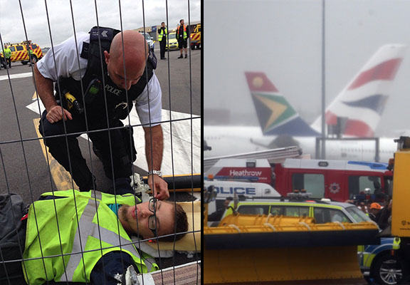 plane stupid WEB Heathrow Flights Cancelled As Demonstrators Cut Through Fence, Protest On Runway