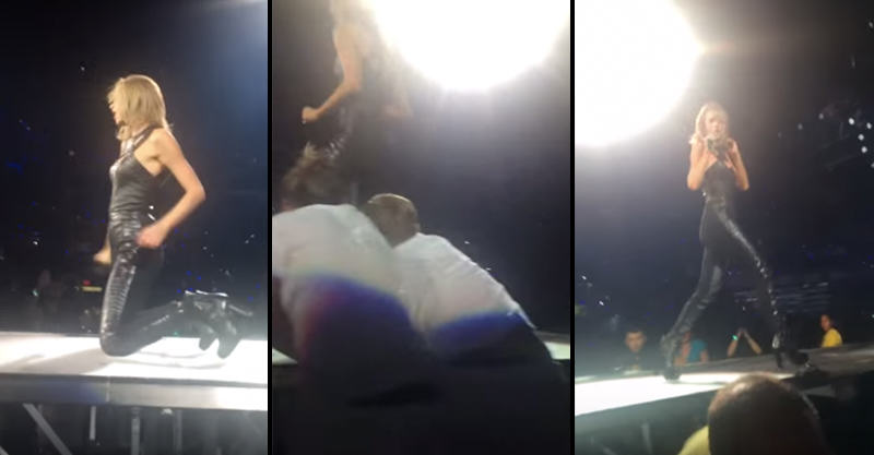UNILAD AVSveCF5y Two Guys Attempt To Pull Taylor Swift Off Stage