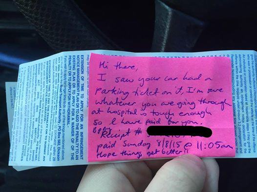 Kind Stranger Pays For Womans Parking Ticket Outside Hospital UNILAD pt65