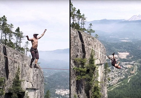 Terrifying Moment Man Almost Falls 950ft To His Death During Record Breaking Wire Walk UNILAD rope walk WEB2