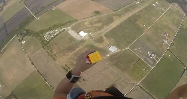 UNILAD rumble 47 Badass Skydiver Completes Rubiks Cube Before He Even Opens His Parachute