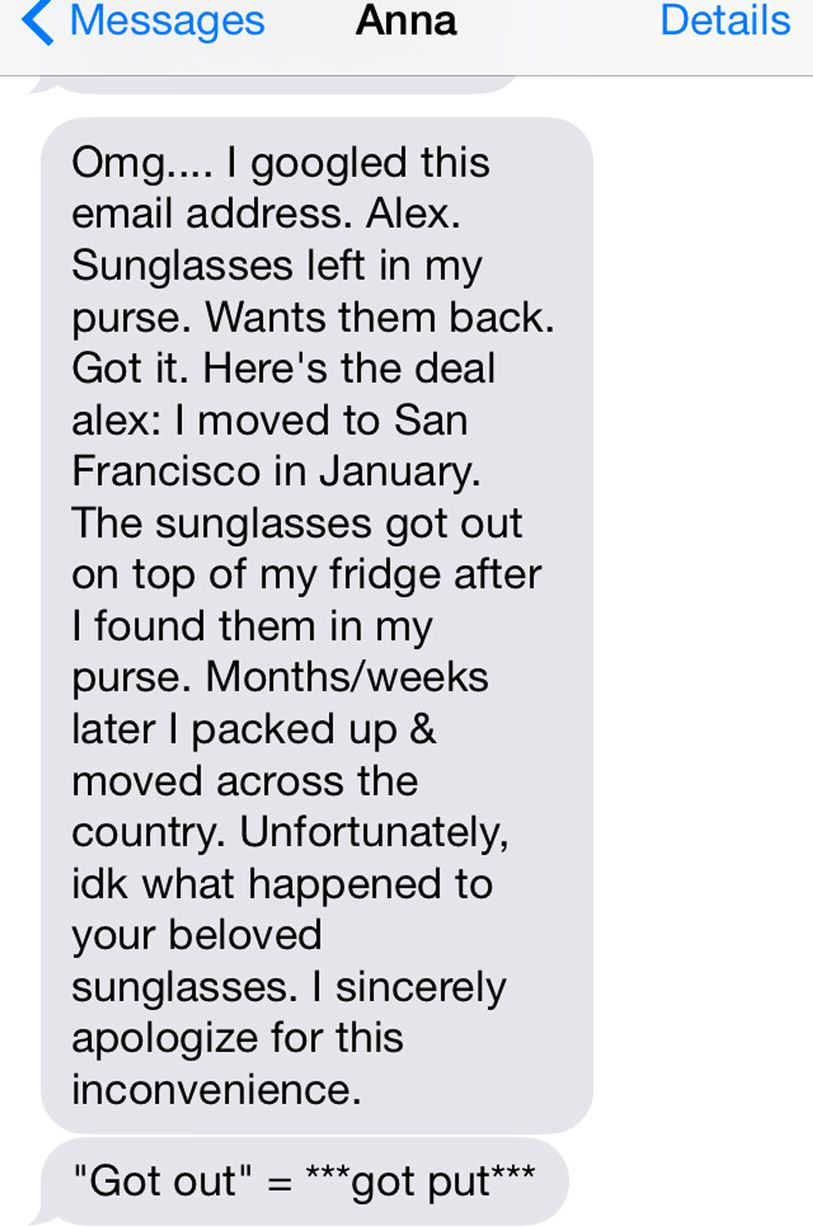 UNILAD sun404 This Guy Bombarded A Girl With Texts For A Year Asking For His Sunglasses Back