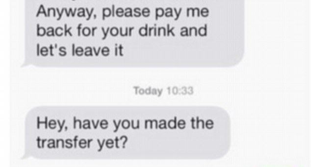 drink 5 Guy Demands Woman Repays Him For Drink After She Rejects Second Date