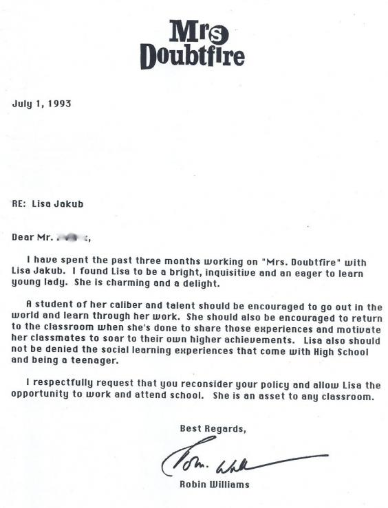 Young Actor Expelled For Filming Mrs Doubtfire, Robin Williams Wrote This Brilliant Letter To School mdf1