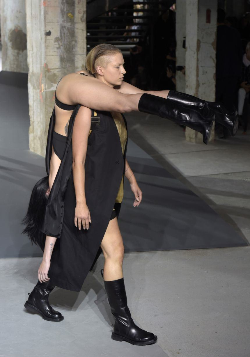 UNILAD Rick Owens show 12 Rick Owens Sent Models Down The Catwalk Wearing Other Models, Obviously