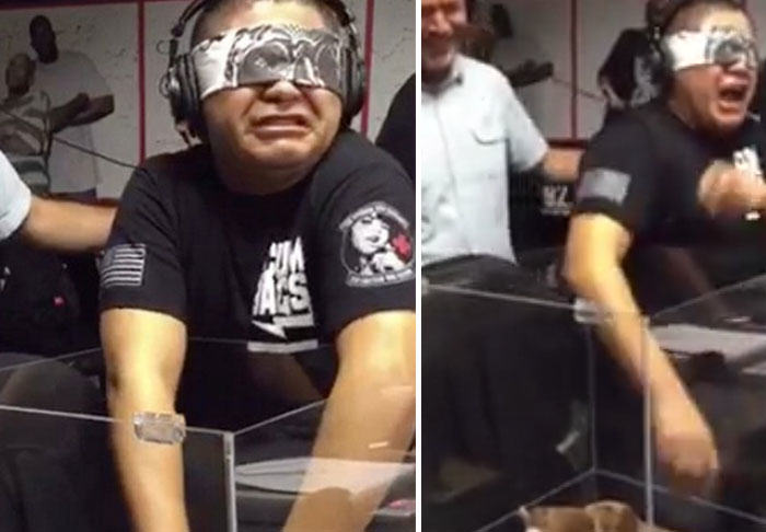 UNILAD bear359261 Blindfolded Man Loses His Sh*t When Made To Touch A Teddy Bear
