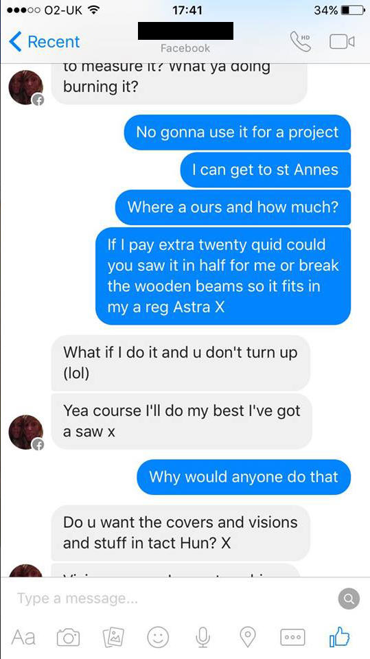 UNILAD couch troll new 379655 Woman Tries To Sell Broken Sofa, Guy Teaches Her Epic Lesson